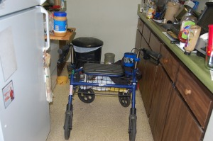 My walker in my kitchen. You see the problem.