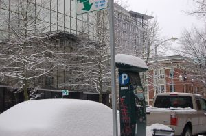 See the snow on top of the parking meter?