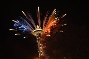 Fireworks from top of Space Needle