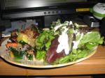 Roasted vegetables parmesan and a big green salad